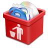 Red-trash-full icon