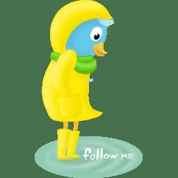 Fall raincoat follow me icon